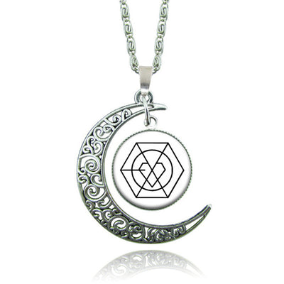 Blue Witchcraft Moon Necklace Silver Color Brand Pendants And Necklace.