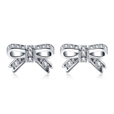 92.5%  Silver Earrings. Ribbon bow cute to many opportunities.