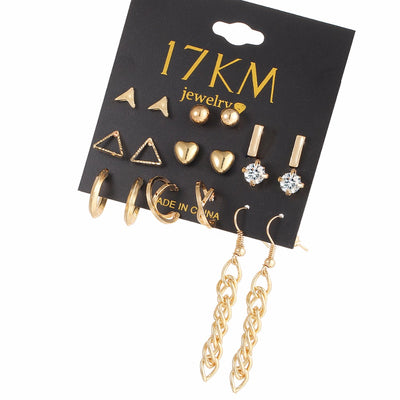9 Pairs/Set Crystal Earring Sets For Women Lover Silver Gold Color
