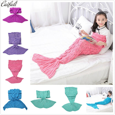 140*70cm Mermaid Tail Knitted Blanket for Children