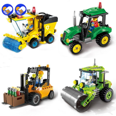 A toy A dream ENLIGHTEN City Construction Road Roller Forklift Truck Tractor Sweeper Truck Building Blocks Kids Toy Legoingly
