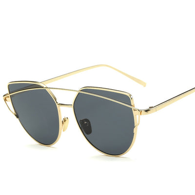 Cat Eye Sunglasses Women, Brand Designer Fashion Twin Beam Sunglasses