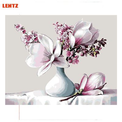 Greenish lily flower picture DIY digital oil painting flowers home decor wall