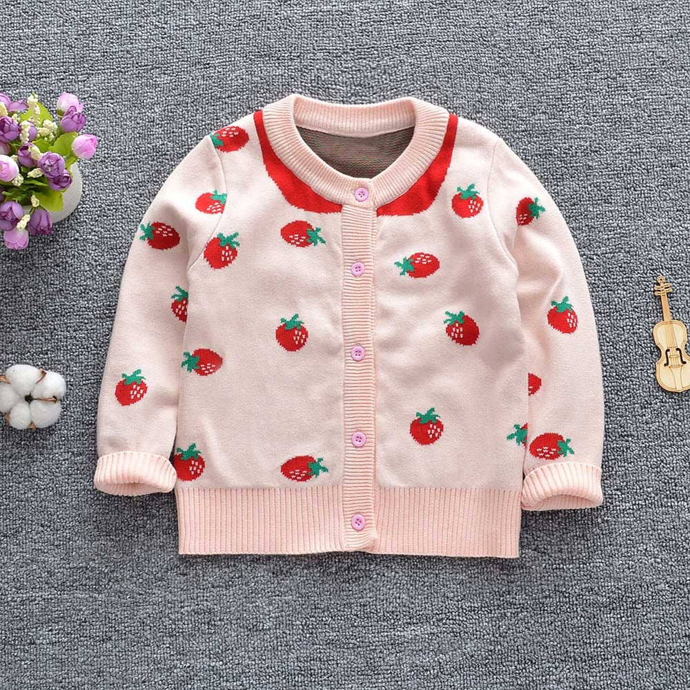 479014f73 Toddler Baby Girl Long Sleeves Strawberry Knit Cardigan Sweater – Adisaa