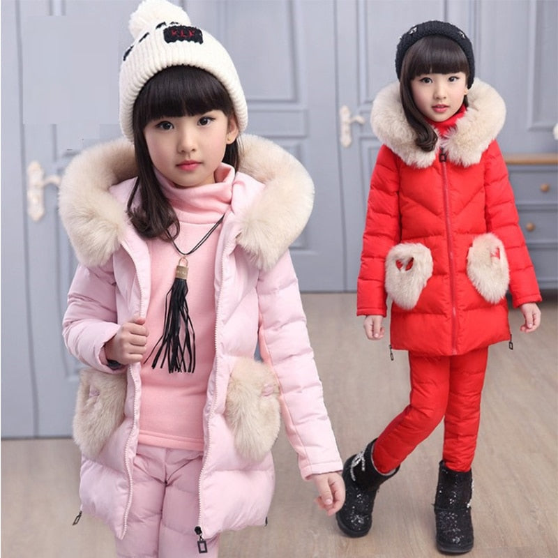 909751173a ... girl winter jacket Clothing Sets Snow Wear Boys Girls sweatshirt  Fashion Kids Clothes ...