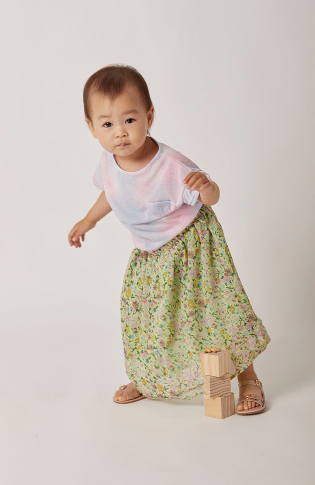 Gemma vintage floral green print skirt with elastic waistband for kids