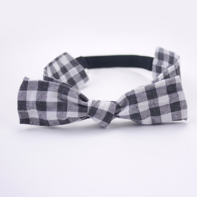 Black and white gingham bow headband with soft comfort elastic