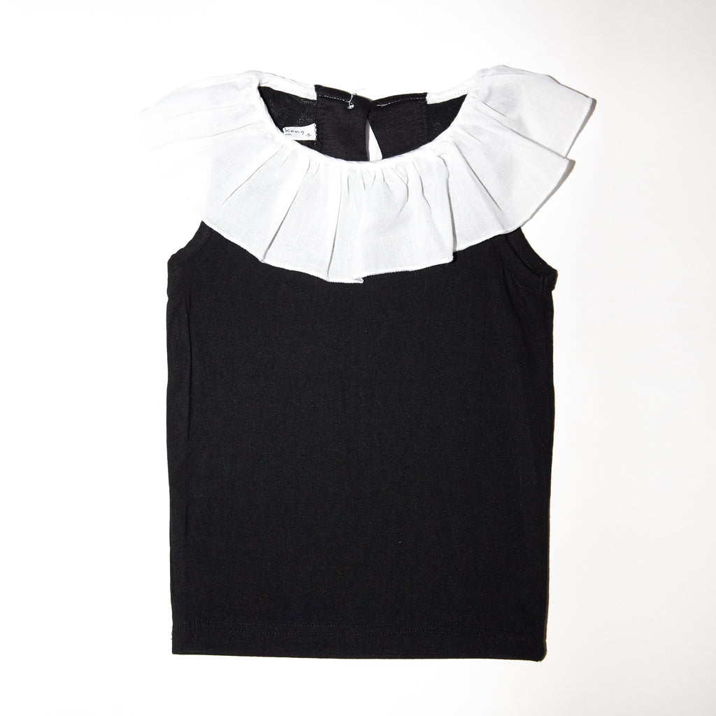 Alanna stretch cotton top with white poplin ruffle for babies and kids
