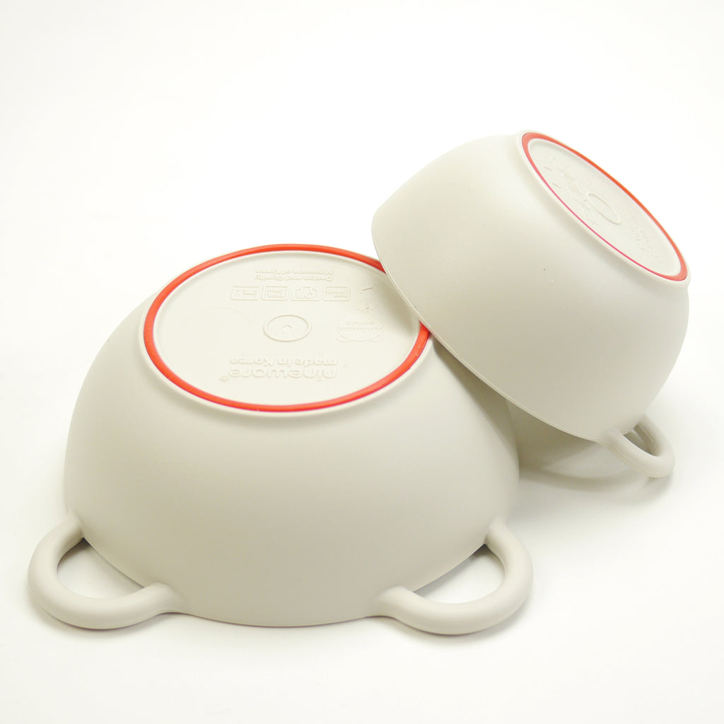 Mini bear eco-friendly bowls that are BPA free, top rack dishwasher safe with red silicone ring for babies and kids bottom view