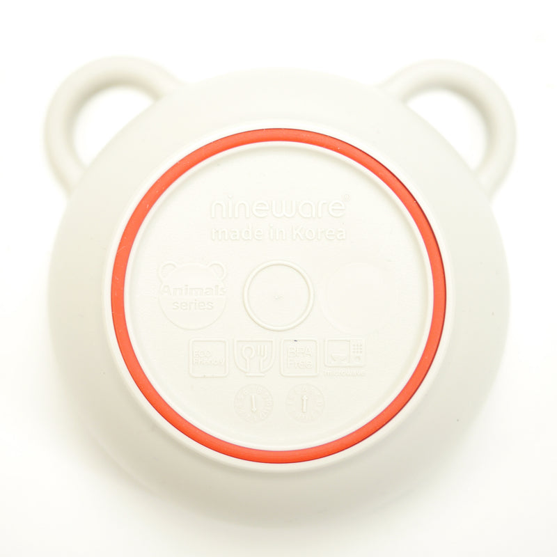 Mini bear eco-friendly bowls that are BPA free, top rack dishwasher safe with red silicone ring for babies and kids bottom