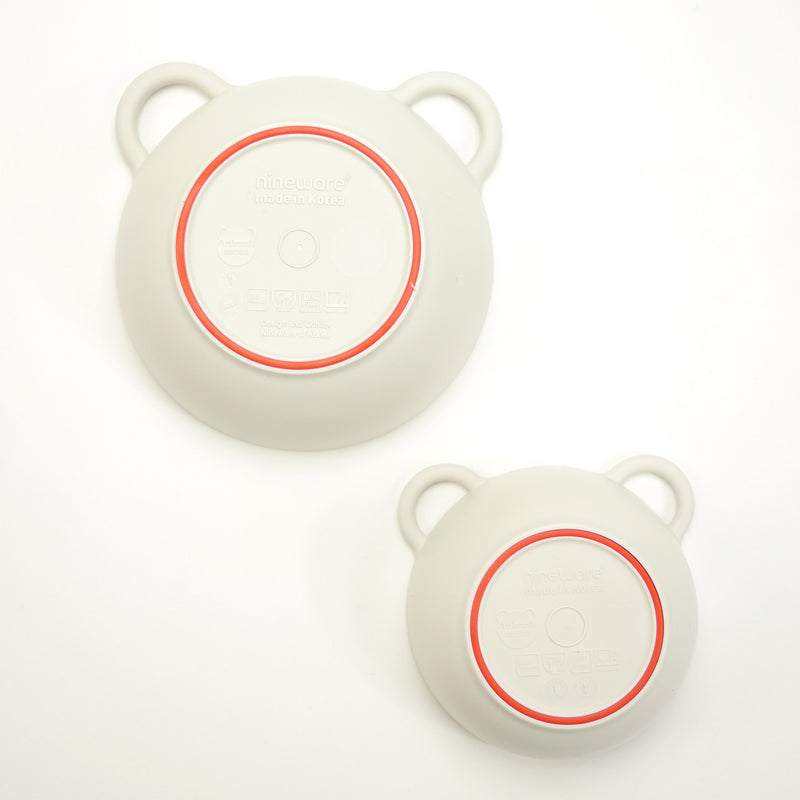 Mini bear eco-friendly bowls that are BPA free, top rack dishwasher safe with red silicone ring for babies and kids