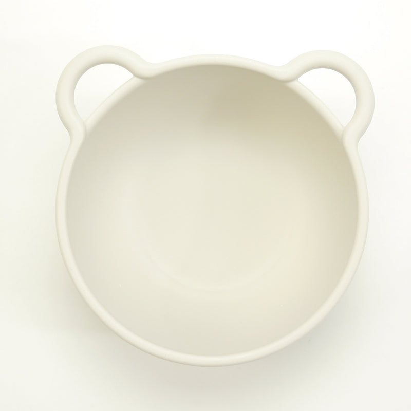 Mini bear eco-friendly bowls that are BPA free, top rack dishwasher safe with red silicone ring for babies and kids in ivory