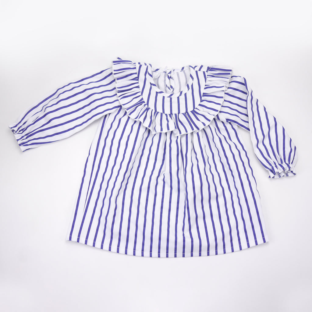 Catalina blue and white striped long sleeve dress with ruffle neckline