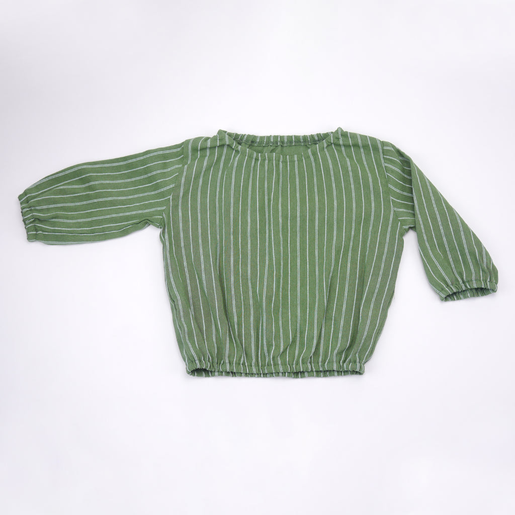 Cici long sleeved green and white striped top for babies and kids