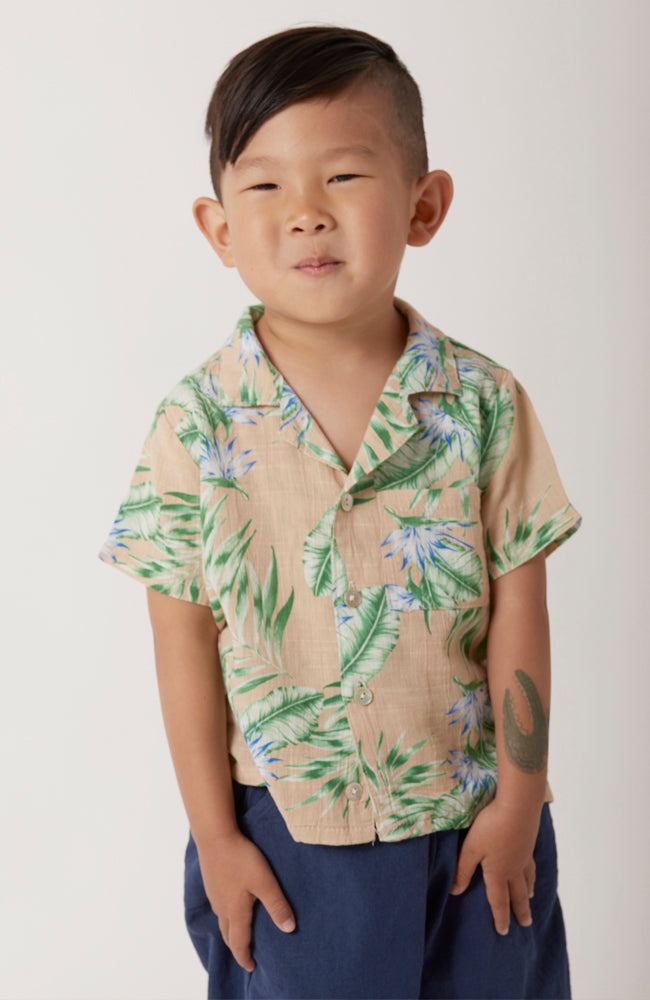 aloha Hawaiian top in beige and green for babies and kids