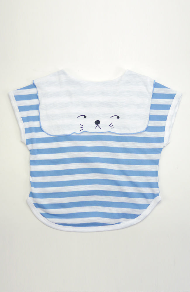 Bunny scarf top side eye bunny top in a striped silhouette with a tie-front sailor collar