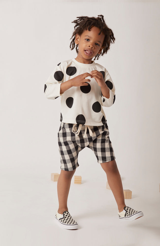 Harper harem style short in a fun black and white gingham check for kids
