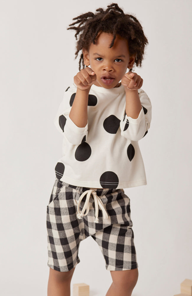 owen polka dot long sleeve french terry top for toddlers and kids