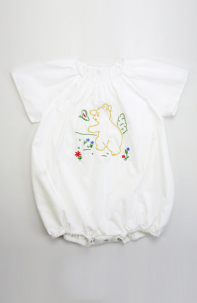 Ada flutter sleeve embroidered bear romper for babies front view