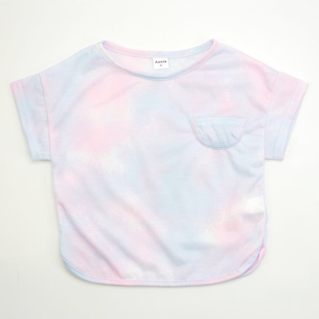 ADRIAN TIE-DYE T-SHIRT WITH POCKET IN COTTON CANDY PINK + BLUE FOR BABIES AND KIDS
