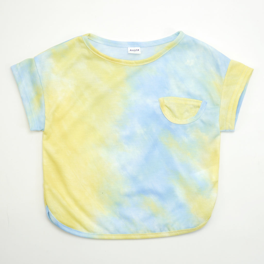 alex tie dye t-shirt in blue and yellow with pocket for babies and kids