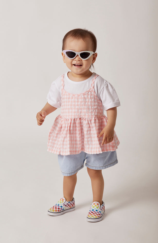 Olivia 2 in 1 top with pink gingham tank and white t-shirt for babies and kids front view