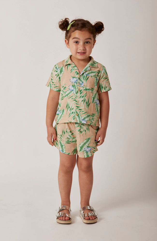 aloha Hawaiian short in beige and green for babies and kids