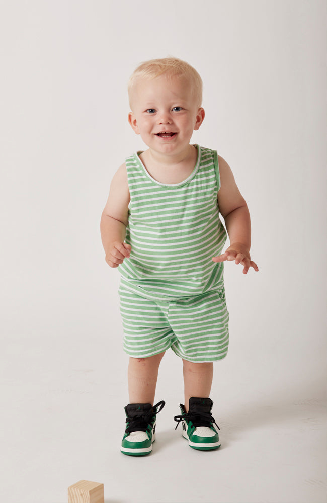 Marina  green and white striped shorts with a soft elastic waist and front pockets for babies and kids front view