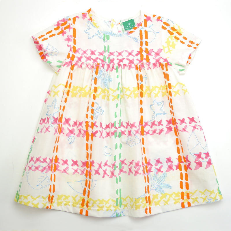 Beatrice cap sleeved A-line dress in an artistic and lively summer cotton print