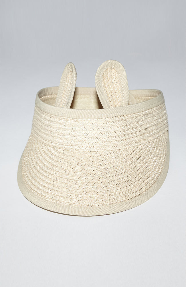 Beige raffia visor with bunny ears and adjustable back velcro for kids and babies