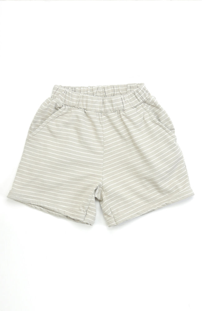 Casey beige and white striped shorts with a soft elastic waist and front pockets