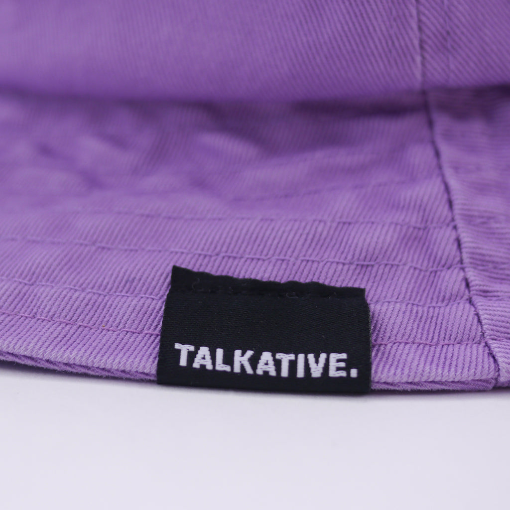 Charlie bucket hat in denim lavender with talkative logo label for kids