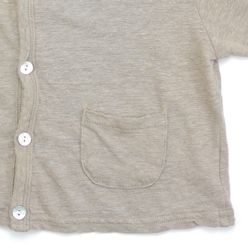 Devon linen v-neck cardigan in beige taupe with real shell buttons pocket detail for kids
