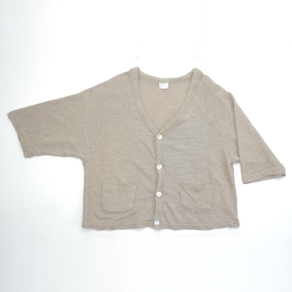 Devon linen v-neck cardigan in beige taupe with real shell buttons for kids