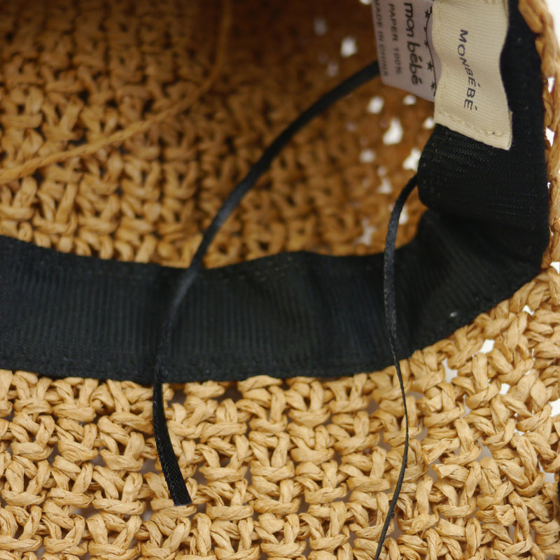 Ella summer raffia bonnet with black ribbon ties for babies and kids