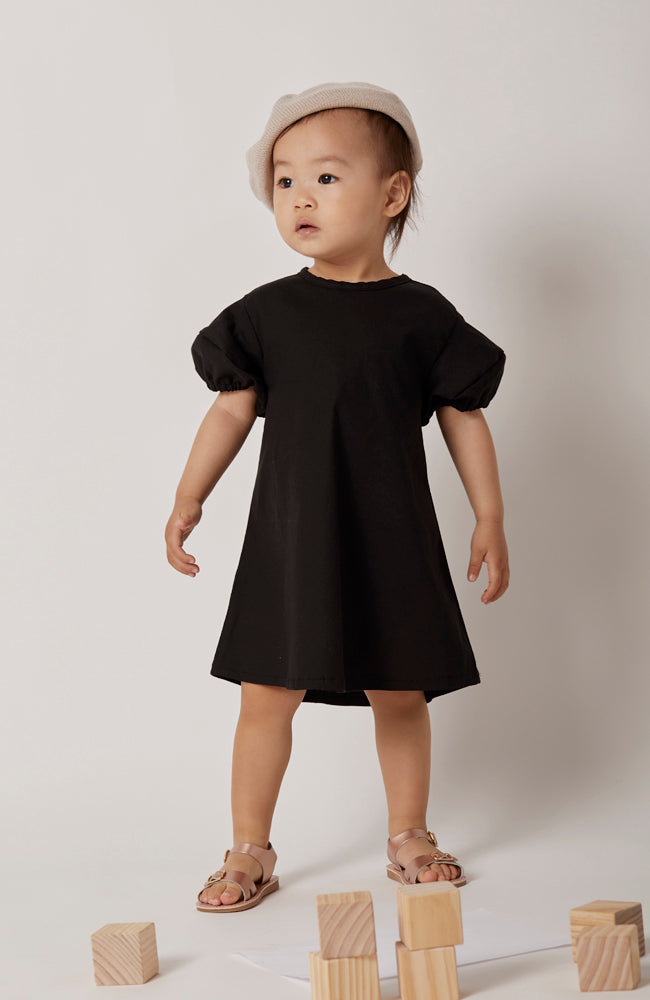 Eloise little black dress for the summer in lightweight cotton for babies and kids