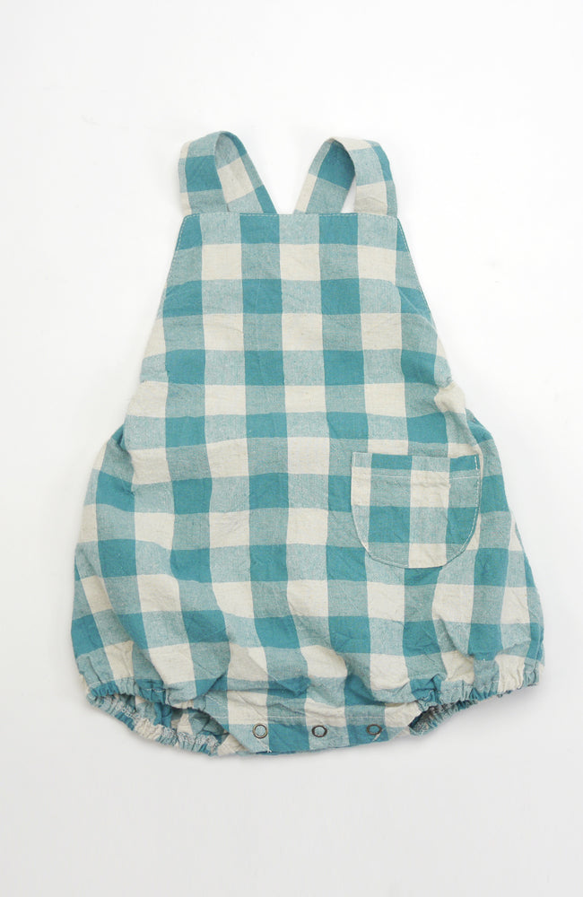 Eugene green checkered gingham print with one front patch pocket for babies front view