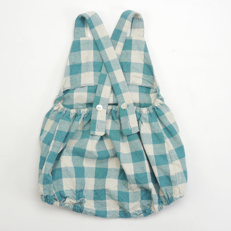 Eugene green checkered gingham print with one front patch pocket for babies back view