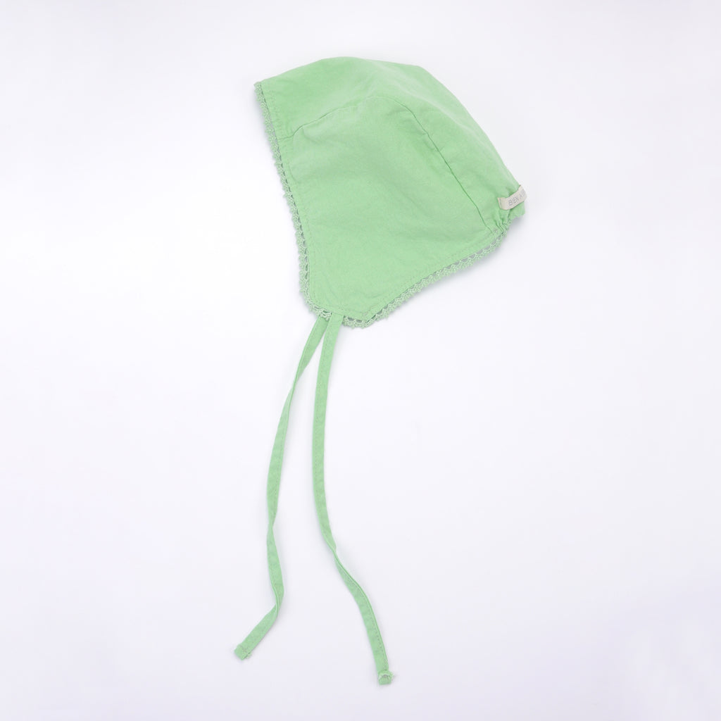 Eze lace baby bonnet in bright neon green cotton linen with ties