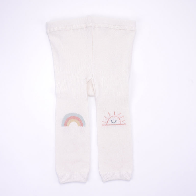 Footless rainbow and sunshine tights in cream, pink and mint for babies and kids