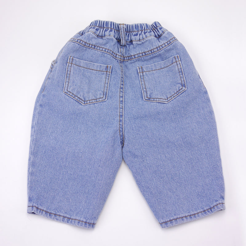 Gino light blue wash relaxed fit denim jeans for babies and kids back view