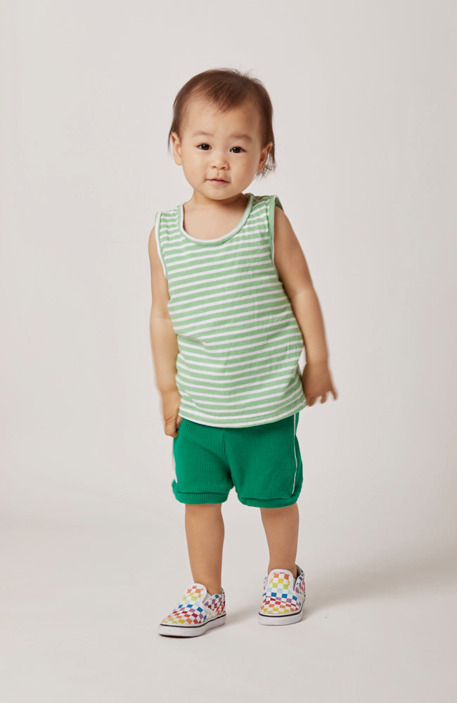 ari striped tank in chic green and white stripes for kids and babies