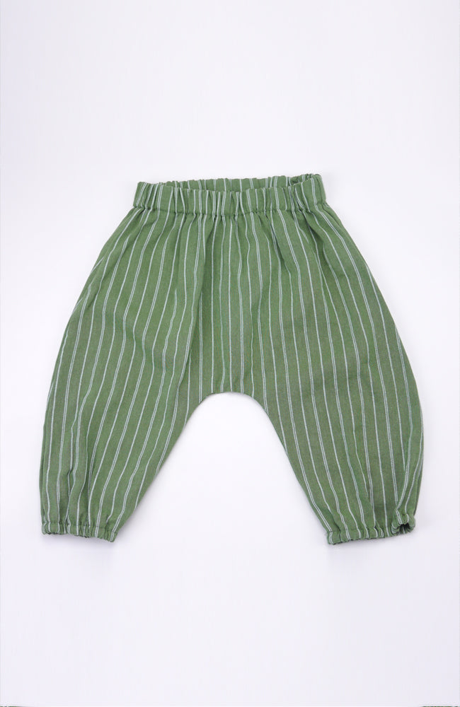 Lorenzo green and white skinny stripe harem pant for babies and kids front view