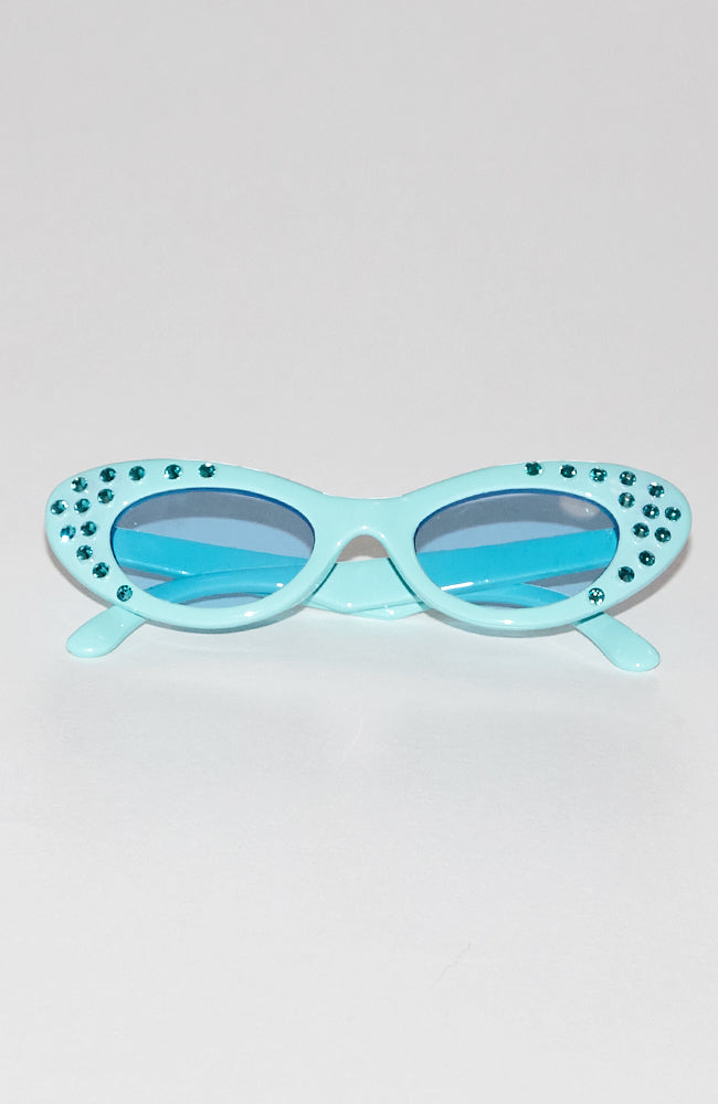 Karina embellished green monochromatic cat eye style sunglasses with real Swarovski crystals for kids