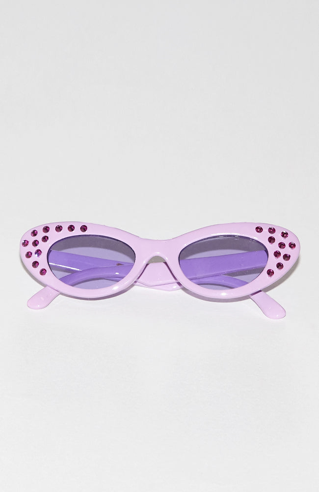 Karina embellished lavender monochromatic cat eye style sunglasses with real Swarovski crystals for kids