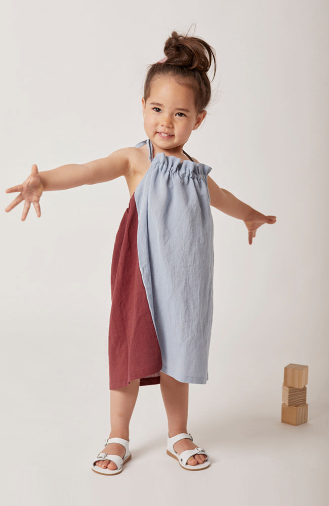Hollis color blocked halter dress in blue and maroon with gathered front neckline detail for kids