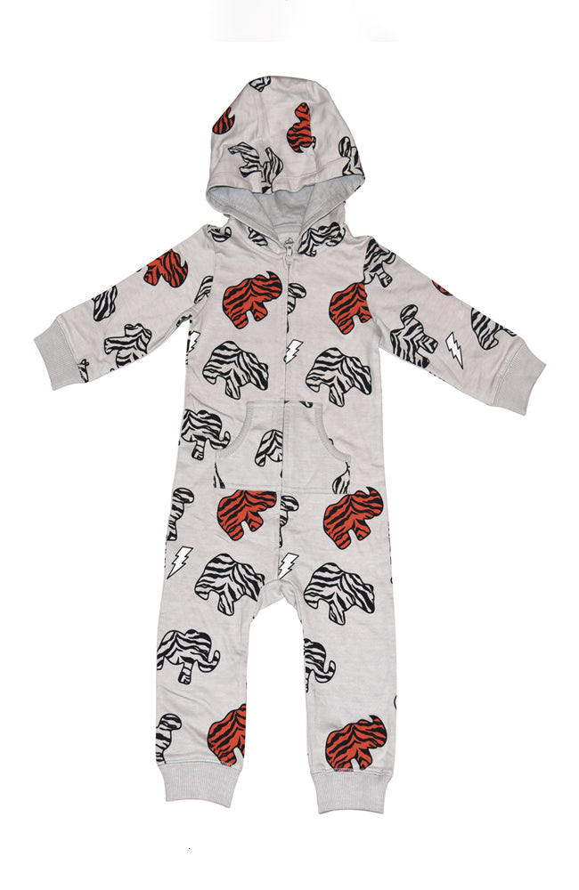 Ice Cream Castles Animal Cookie Print Romper with Hood in Grey Front for Babies and Kids at Baby Kiss Kiss Shop NYC
