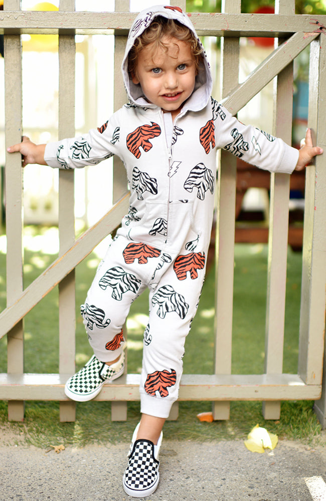 Ice Cream Castles Animal Cookie Print Romper with Hood in Grey Front for Babies and Kids at Baby Kiss Kiss Shop NYC Editorial