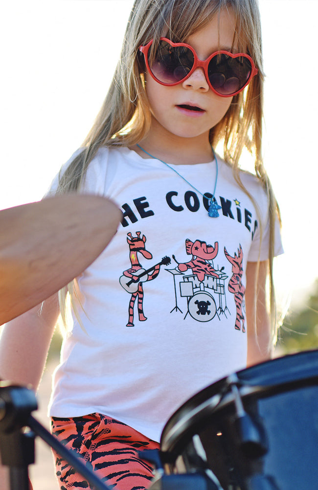 The Cookies Band Tee in White by Ice Cream Castles for Kids and Toddlers from Baby Kiss Kiss Shop NYC Drums Editorial