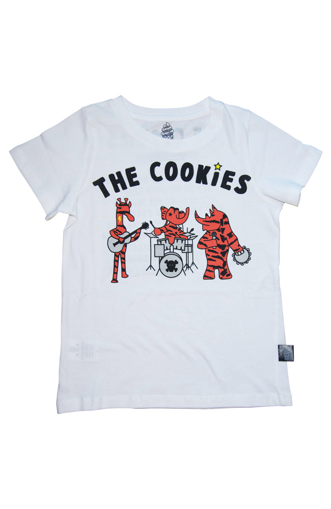 The Cookies Band Tee in White by Ice Cream Castles for Kids and Toddlers from Baby Kiss Kiss Shop NYC Front